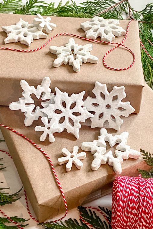White snowflake salt dough ornaments for Christmas.