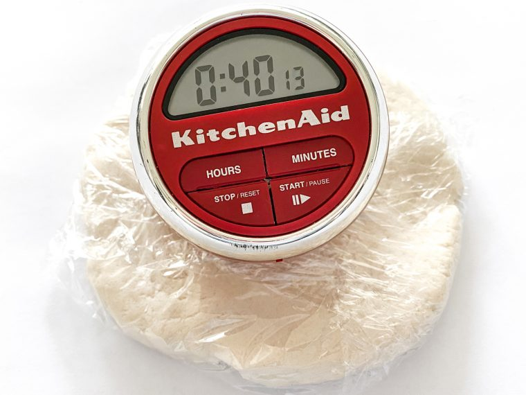 Wrap dough in plastic wrap and refrigerate for 40 minutes.