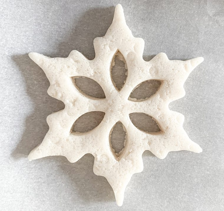 Cutout snowflake for salt dough ornaments.