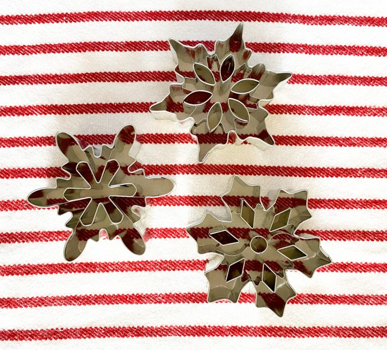 Snowflake cookie cutters for making salt dough ornaments.