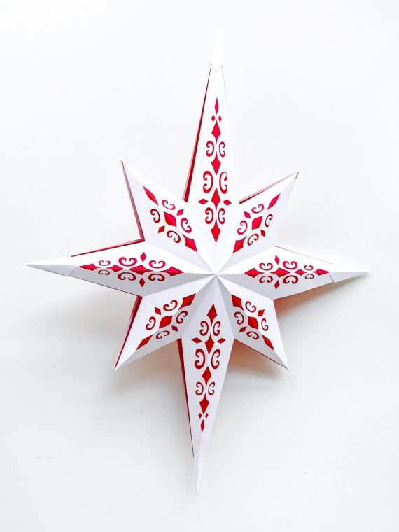 Paper Christmas star craft with free printable PDF files.