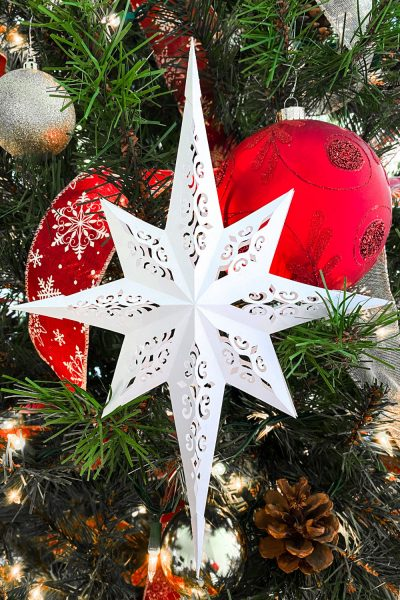 Paper Christmas Star Craft With Free SVG and PDF template.