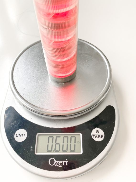 Weigh the lights to use the appropriate weight string to hang your ball.