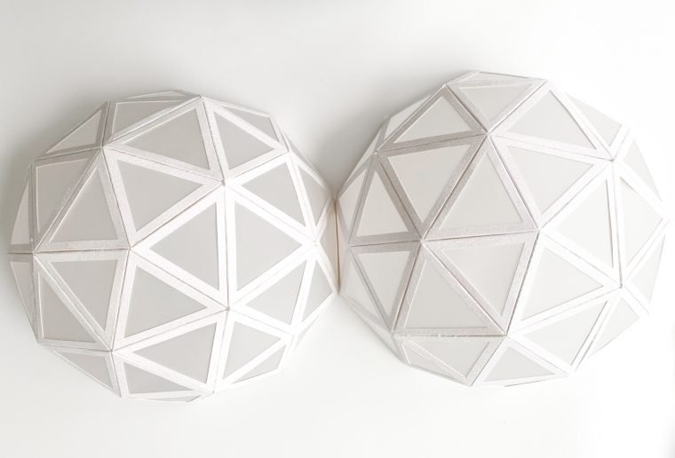 Two completed domes to make a New Year's Eve countdown ball.