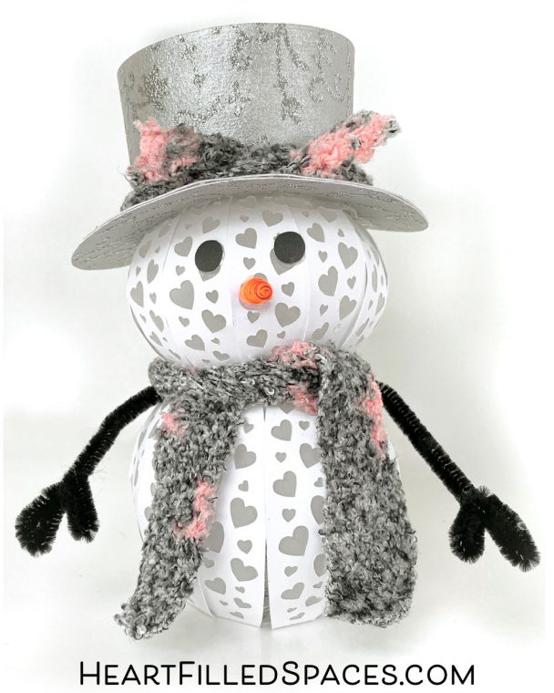 3D Light Up Paper Snowman SVG With Heart Pattern
