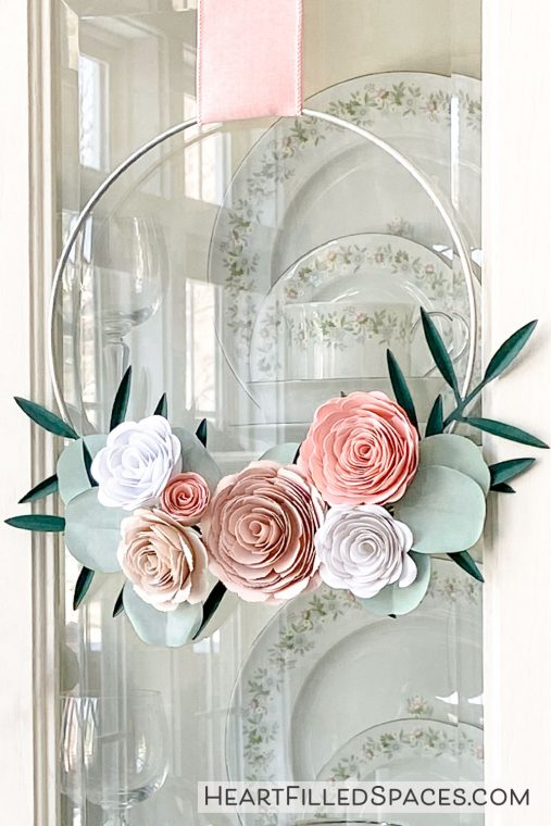 Paper flower wreath from SVG flowers.