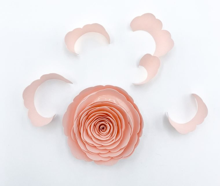 Adding extra petals to a paper flower.