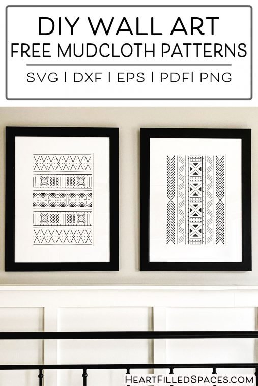 DIY wall art Tribal African Boho mudcloth pattern cut from black and white vinyl with free line art SVG, PNG, PDF, DXF & EPS file formats.