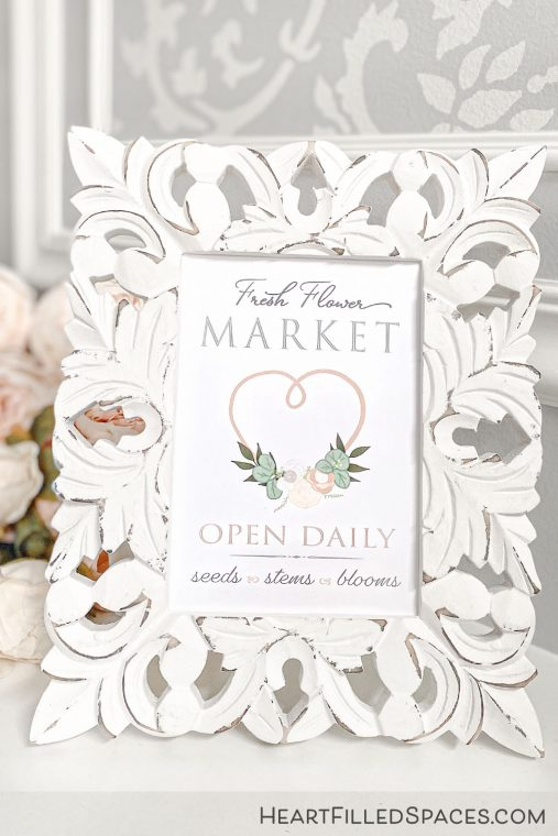 Free Fresh Flower Market sign for your home decor.