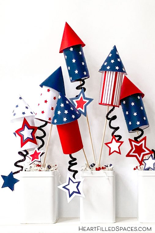 Red, white and blue paper rocket craft for the Fourth of July with free templates.