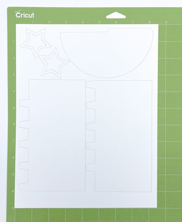 Paper rocket template cut from cardstock on Silhouette Cameo.