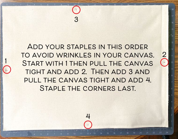 How to reattach and staple the canvas to the back of a frame.