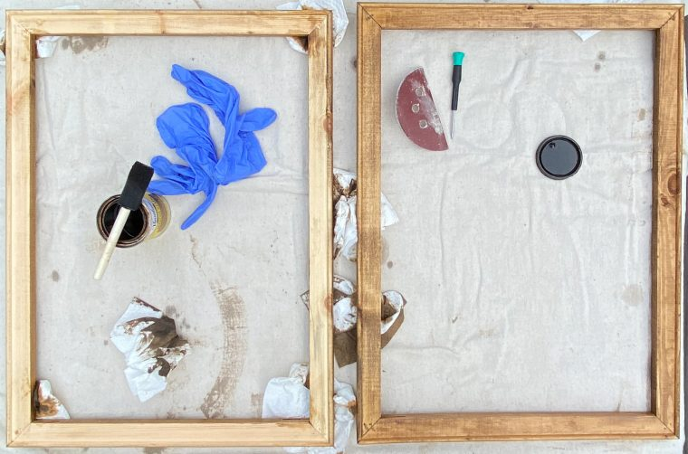 How to stain a pine frame for a reverse canvas.