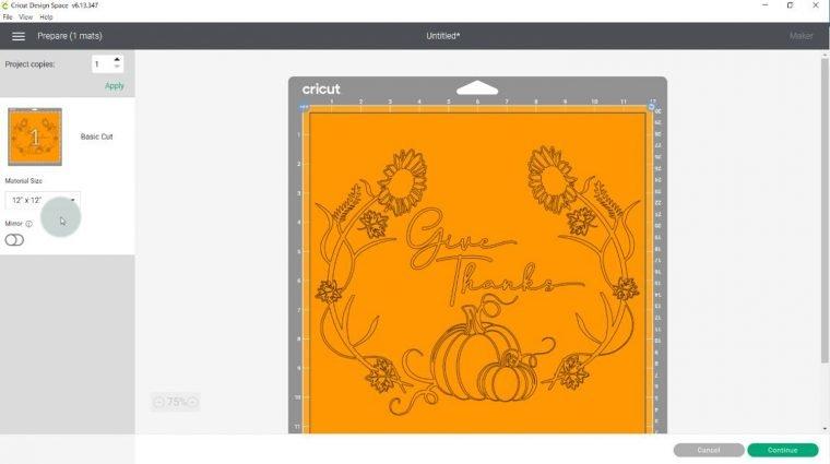 Using Cricut Design Space to create a stencil.